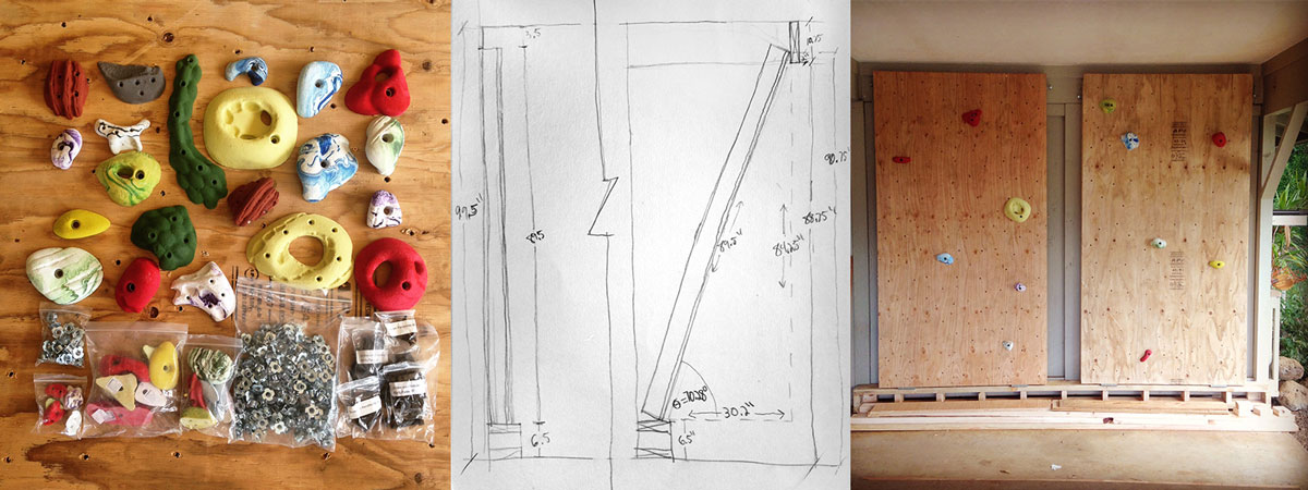 climbing holds, rough plans and the two panels against the wall