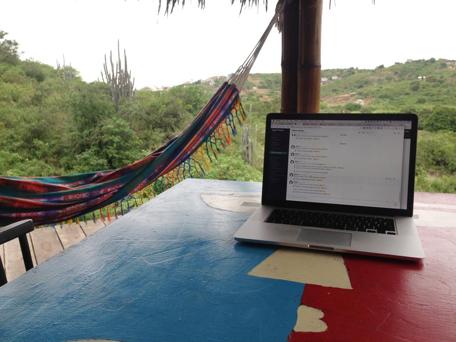 laptop on the porch in riochico ecuador
