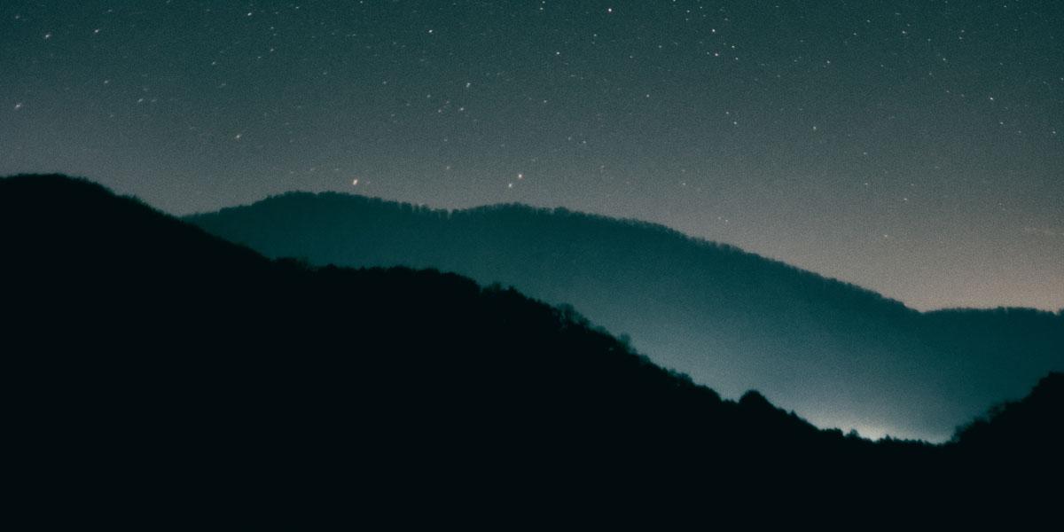 night sky hills